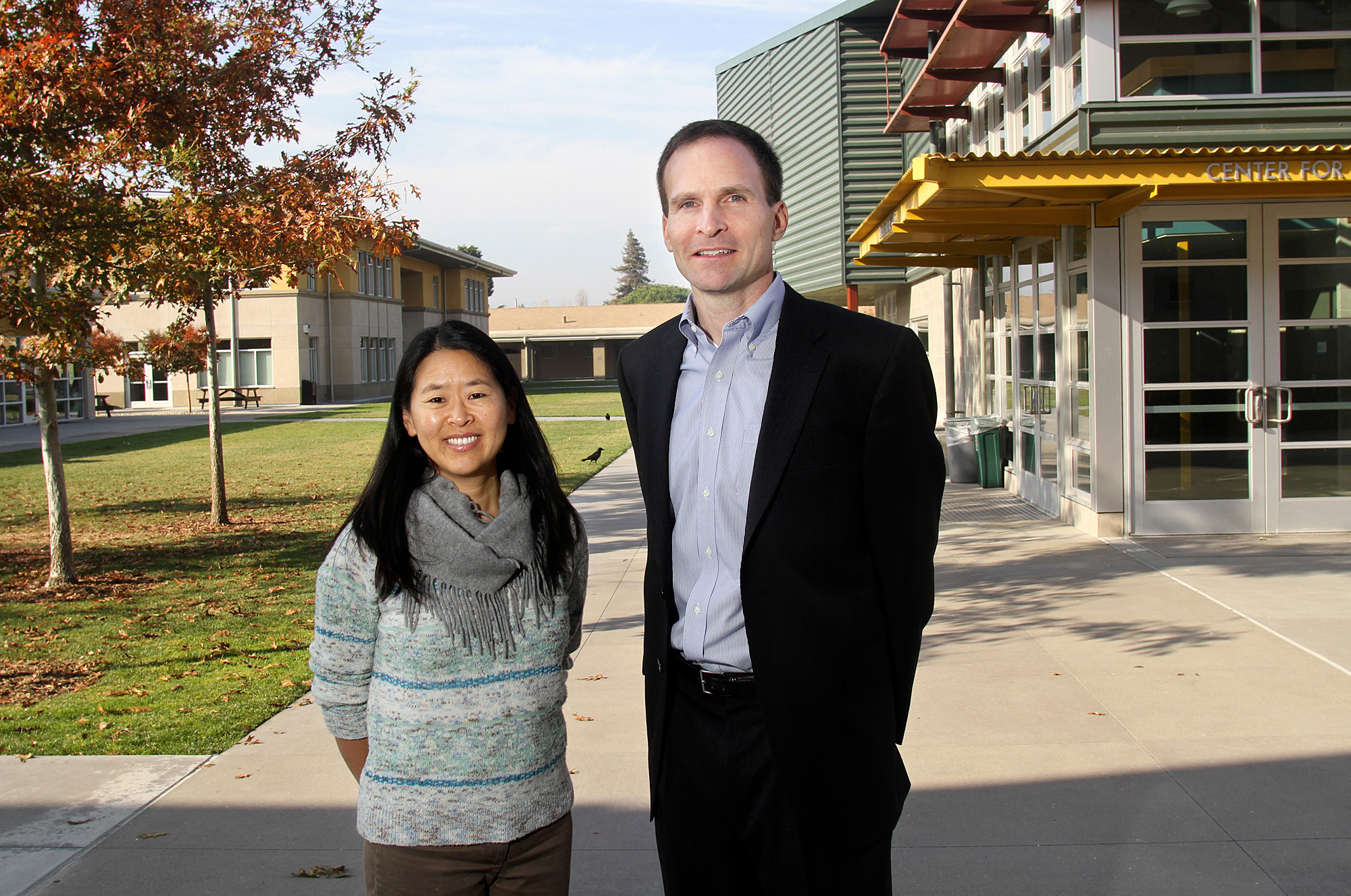 Helen Kim and Chris Bischof in 2013 at the school they co-founded, Eastside College Preparatory School.