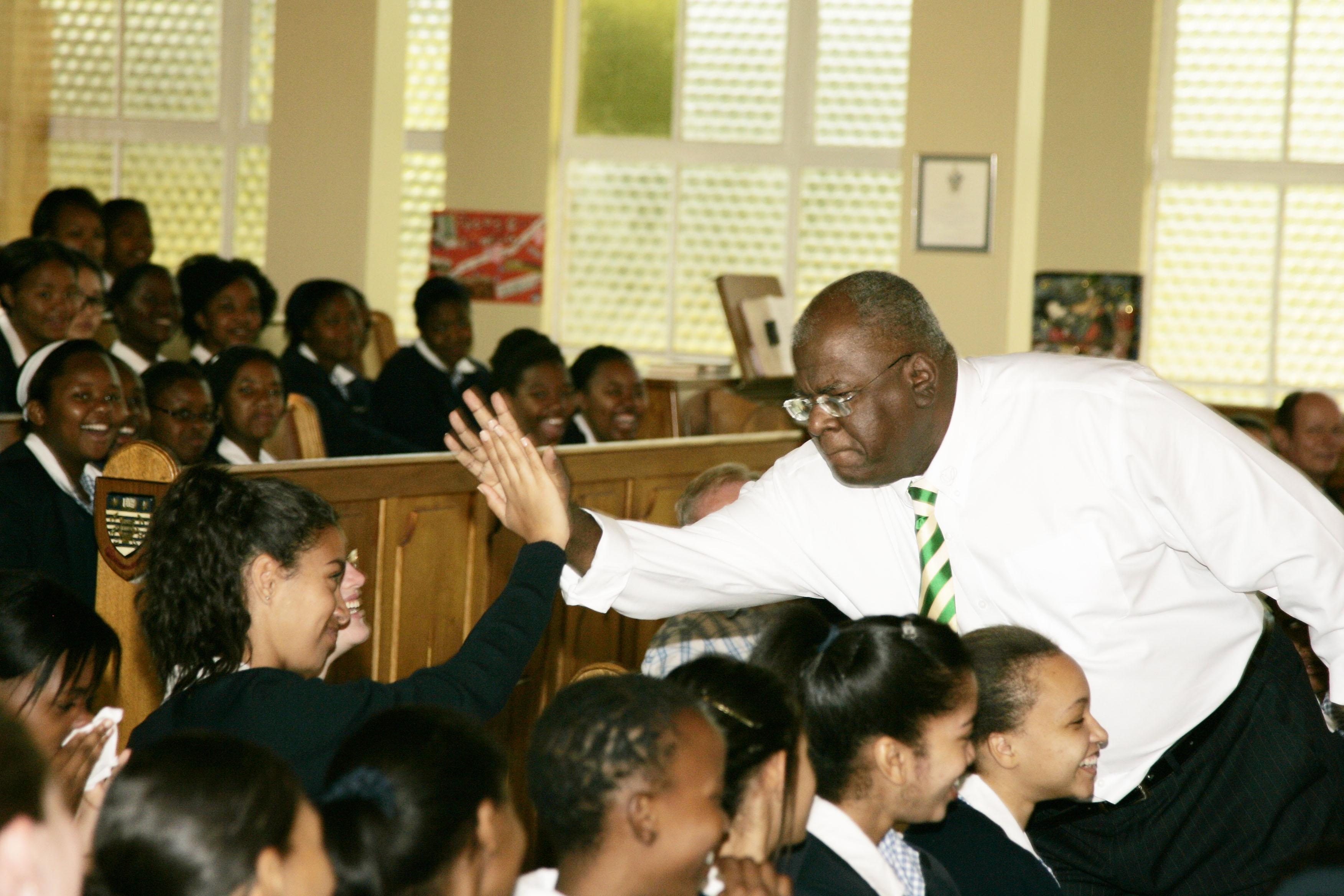 Jonathan Jansen speaks often to teens, here at St Michael's School for Girls in Bloemfontein.