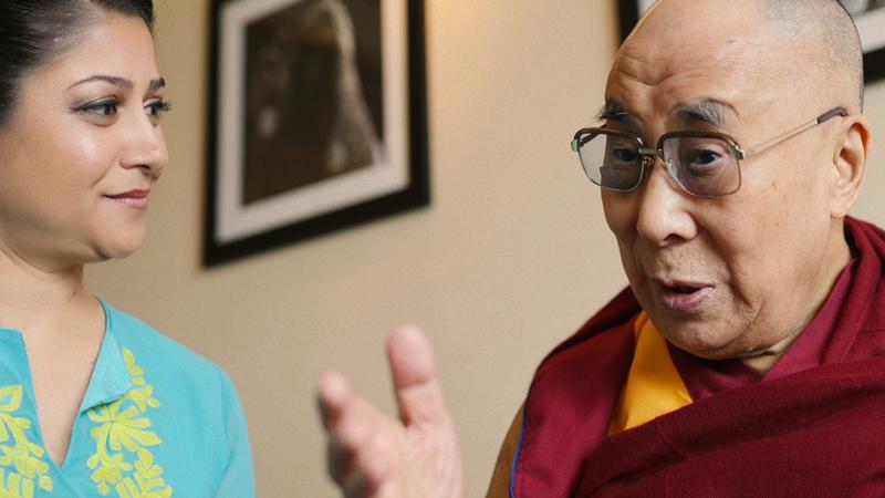 Piya Sorcar meeting with His Holiness the Dalai Lama.