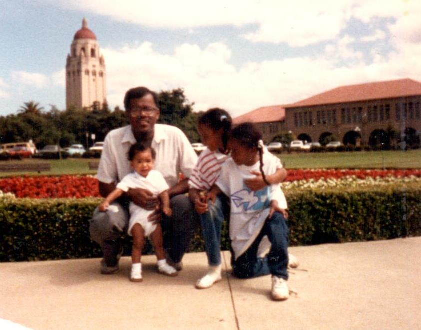 Jonathan Jansen at Stanford some 25 years ago, with his son Mikhail and a friend's two daughters.