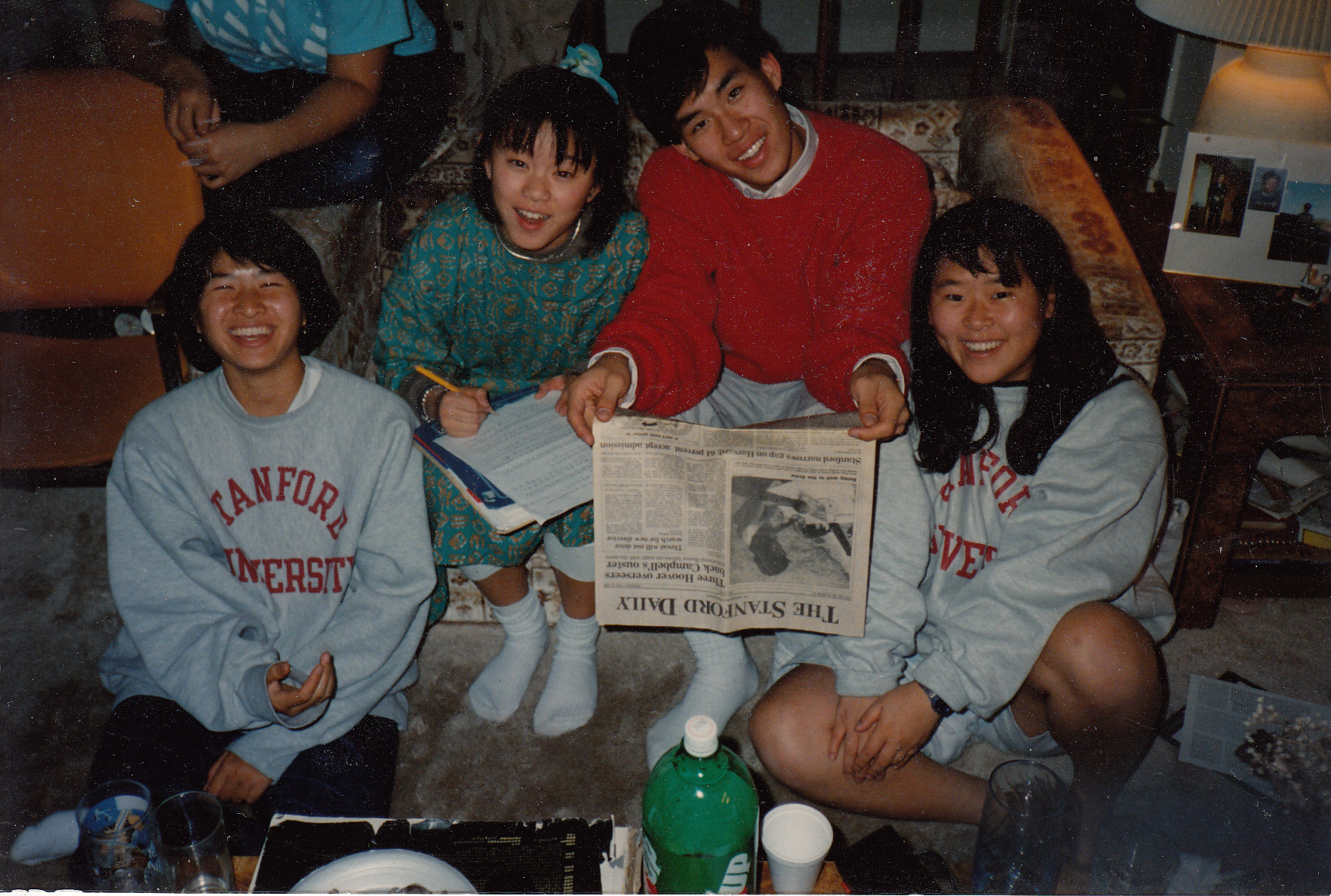 Helen Kim (far right) came to Stanford as a freshman in 1988, planning to be a pre-med student.