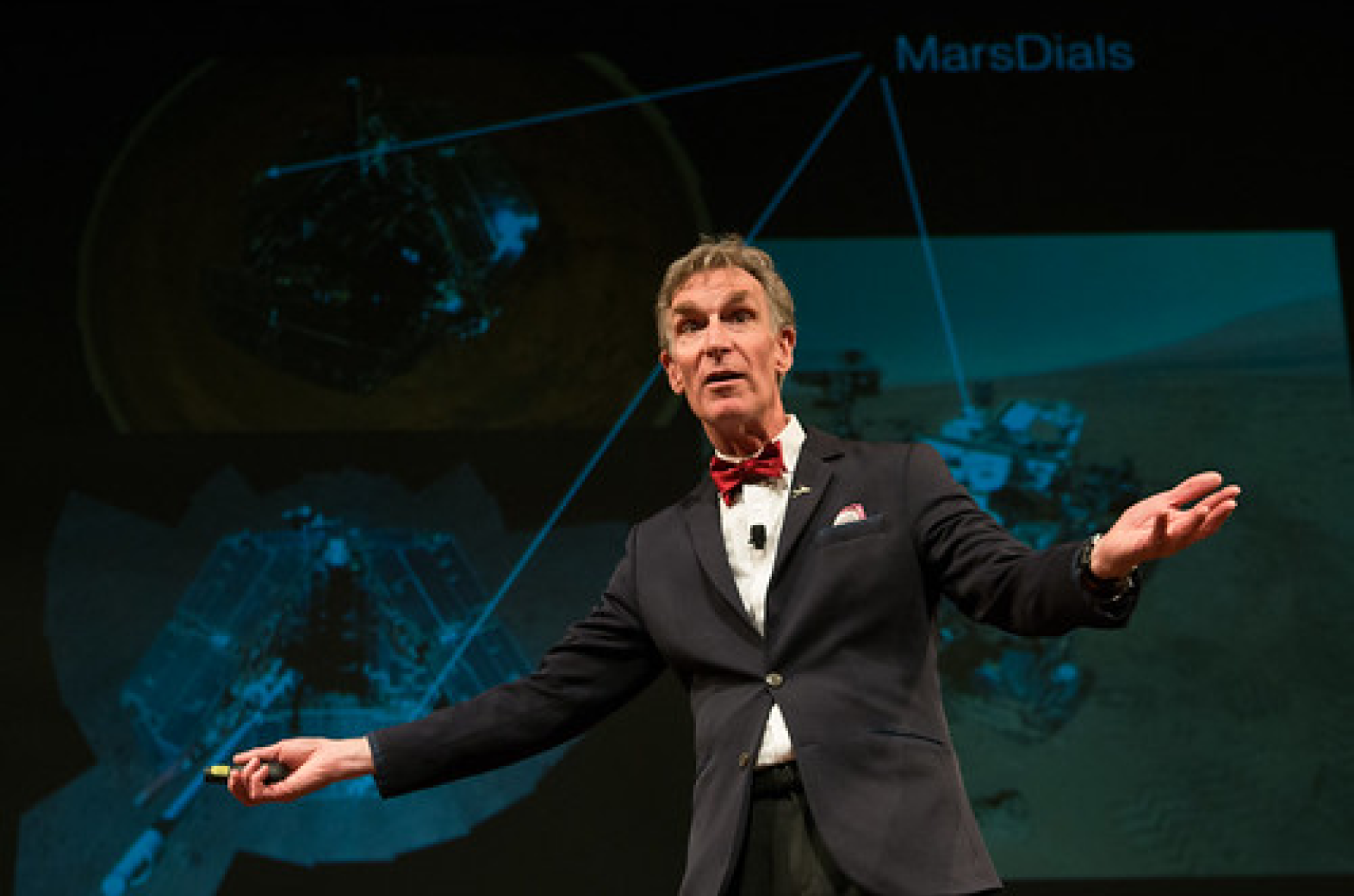 Photo of Bill Nye presenting at the Cubberley Lecture