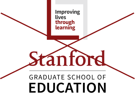 Stanford Graduate School of Education signature (vertical full color) and Imrproving lives through learning logo to the top