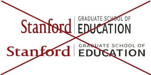 Stanford Graduate School of Education signature (horizontal full color skewed crossed out)