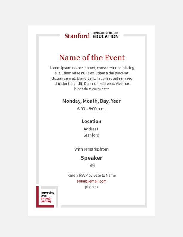 Invitation template with GSE and ILTL logos in 4 by 6