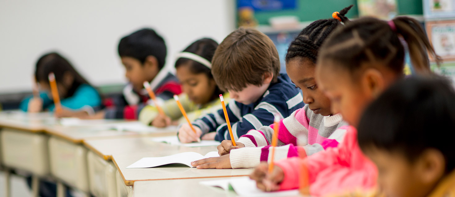 Getty image of kids taking tests