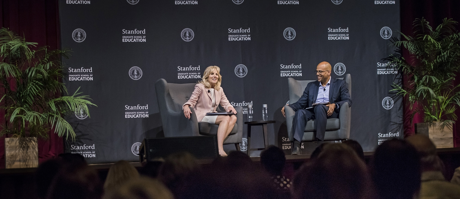 Jill Biden and Jim Shelton at the Cubberley Lecture. Photo by Ryan Zhang
