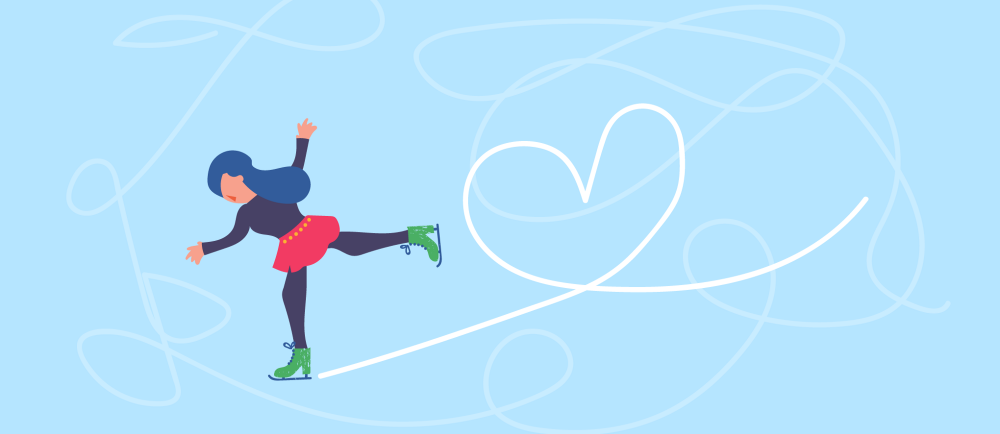 Illustration of girl ice skating