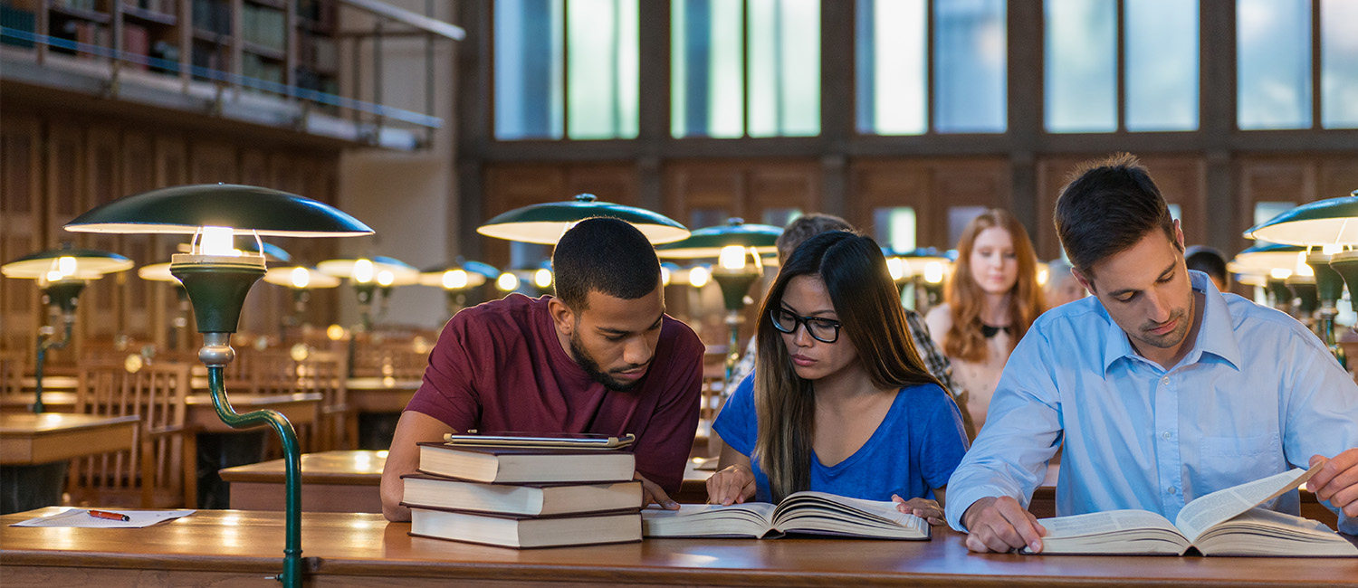 College students studying history
