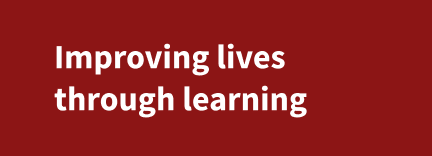 Improving lives through learning two-liner (white color with red background)