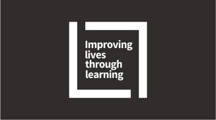 Improving lives through learning signature (white color with dark background)