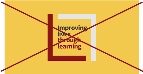 Improving lives through learning signature (full color against yellow background crossed out)