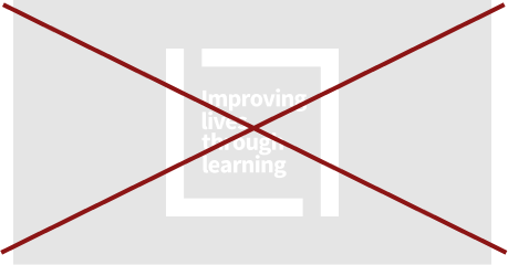 Improving lives through learning signature (white color against light gray background crossed out)
