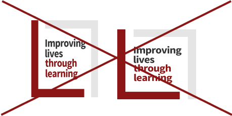 Improving lives through learning signature (full color skewed crossed out)