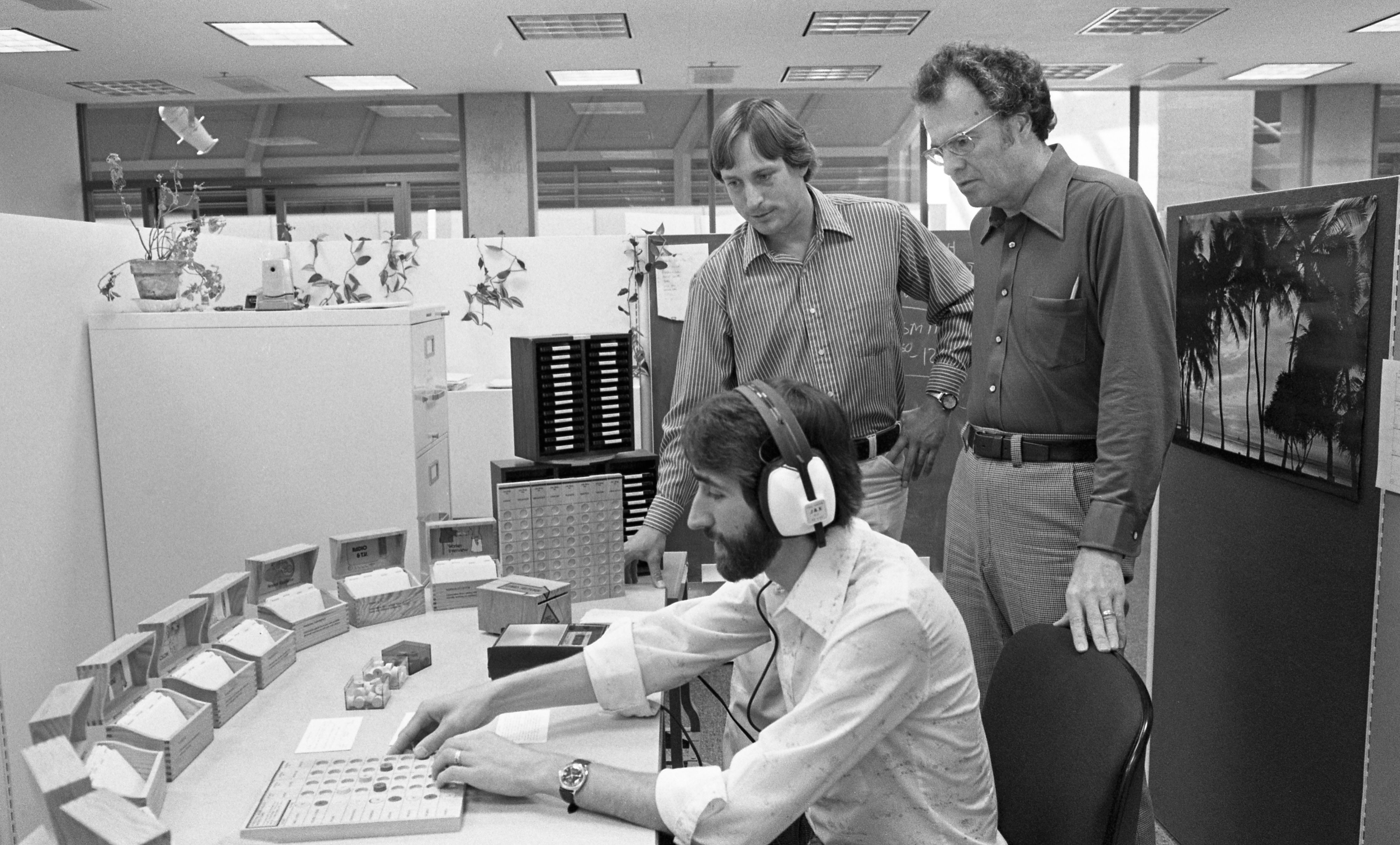 John Krumboltz, right, with a simulation game for choosing careers.