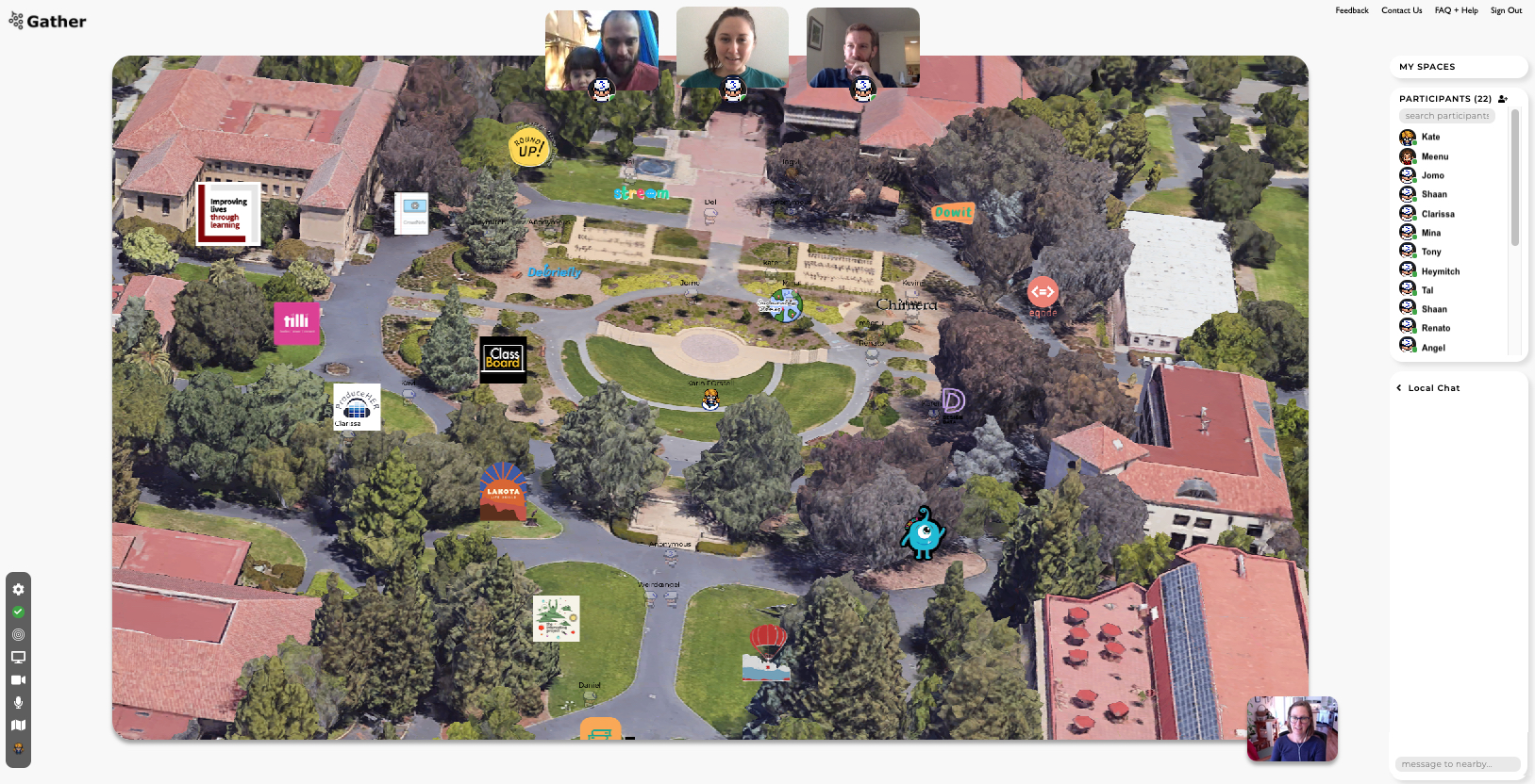 Screenshot of the online expo, showing avatars and gathering spots on a campus map