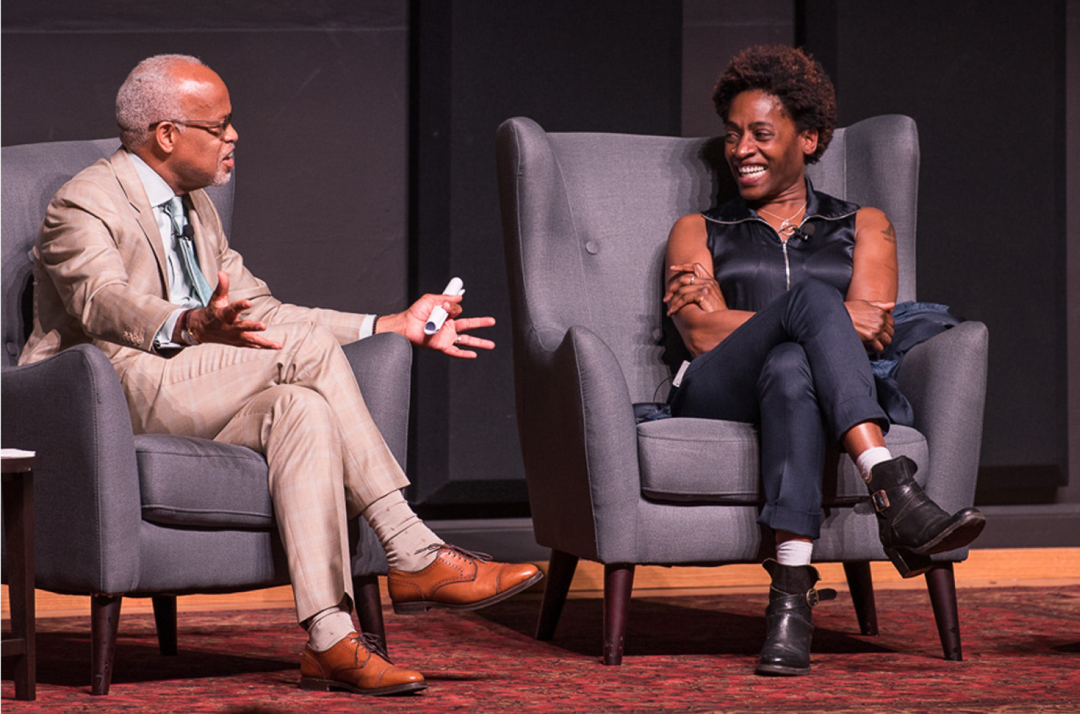 Photo of Jacqueline Woodson presenting at the Cubberley Lecture
