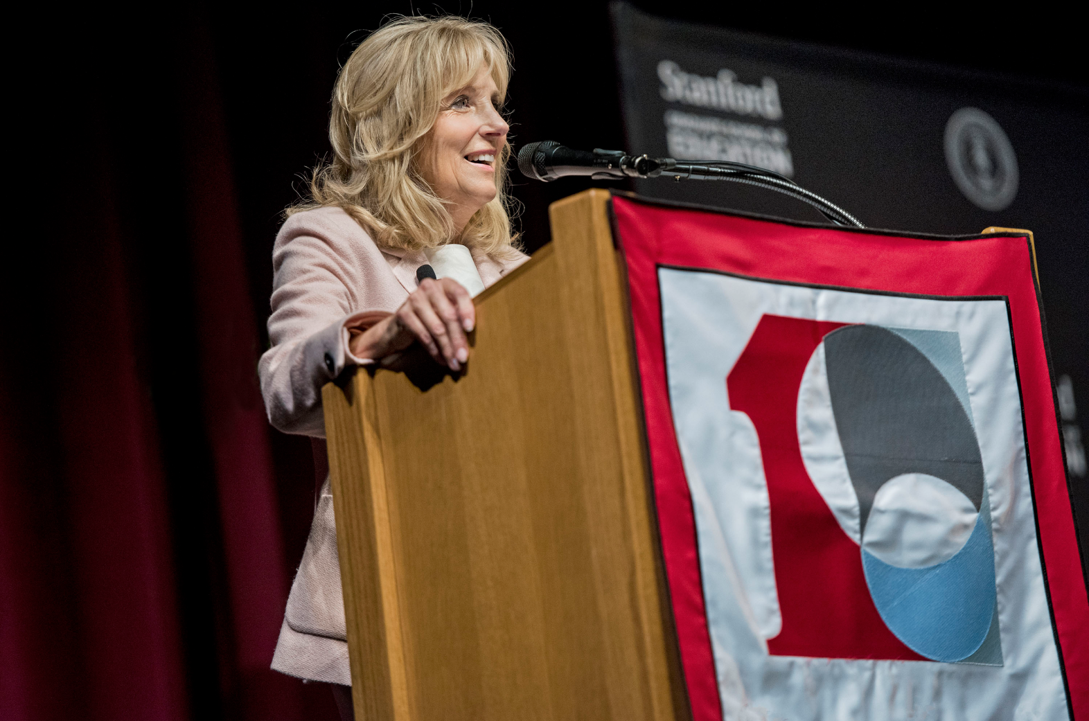 Photo of Jill Biden presenting at the Cubberley Lecture