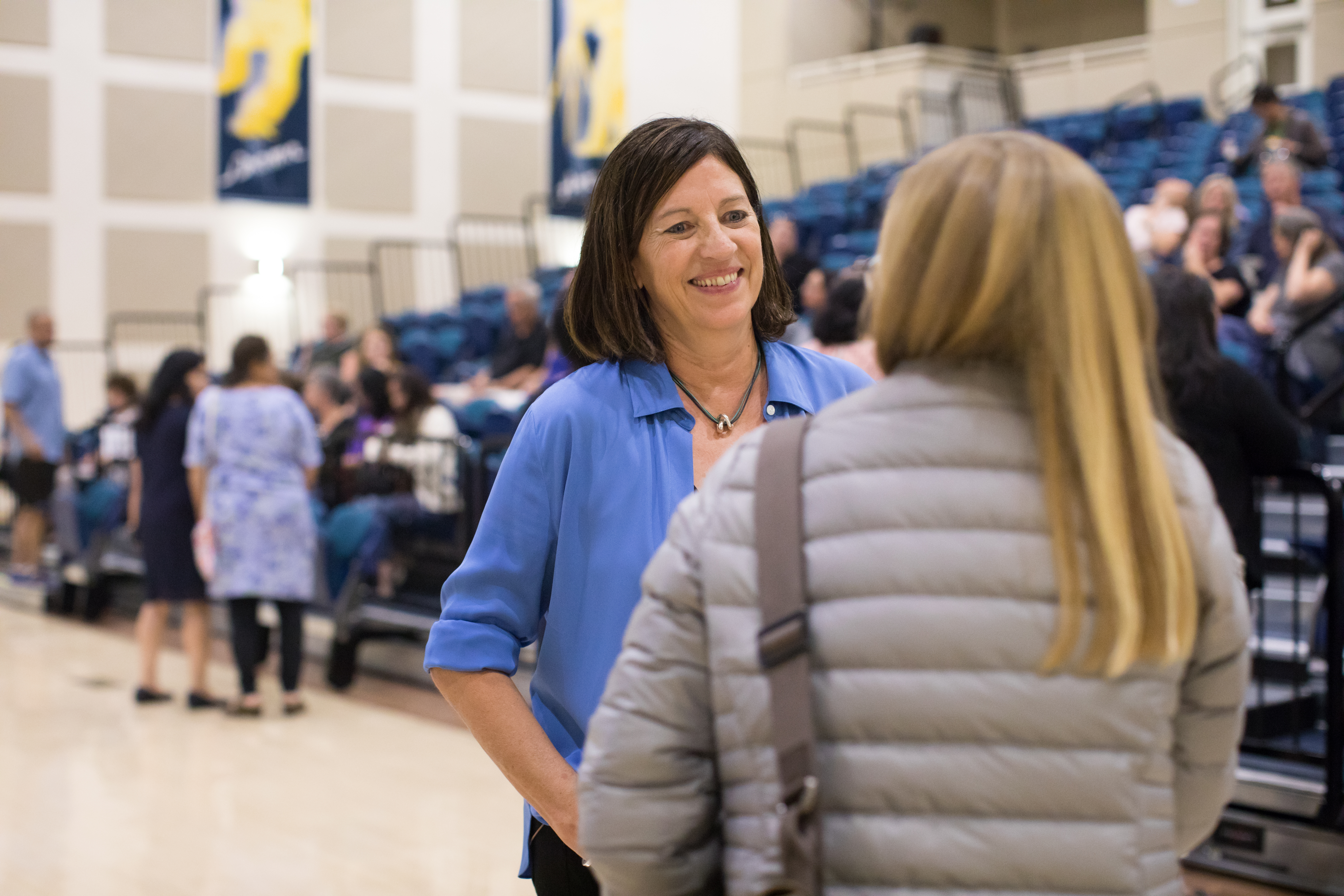 Photo of Jo Boaler at a community event