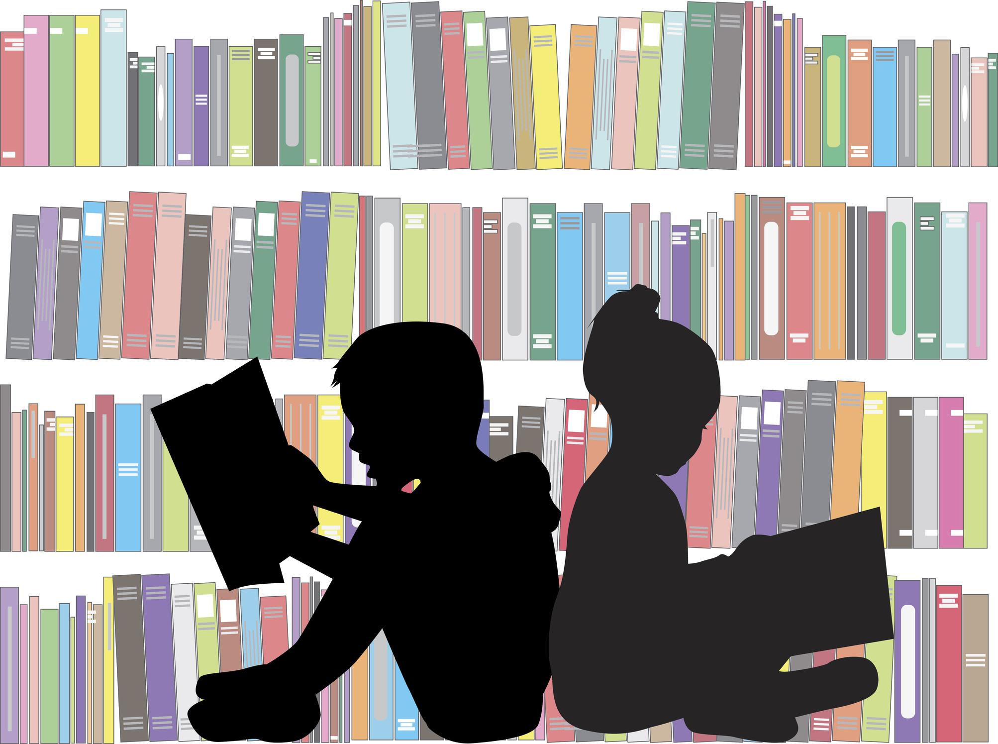 Illustration of kids reading