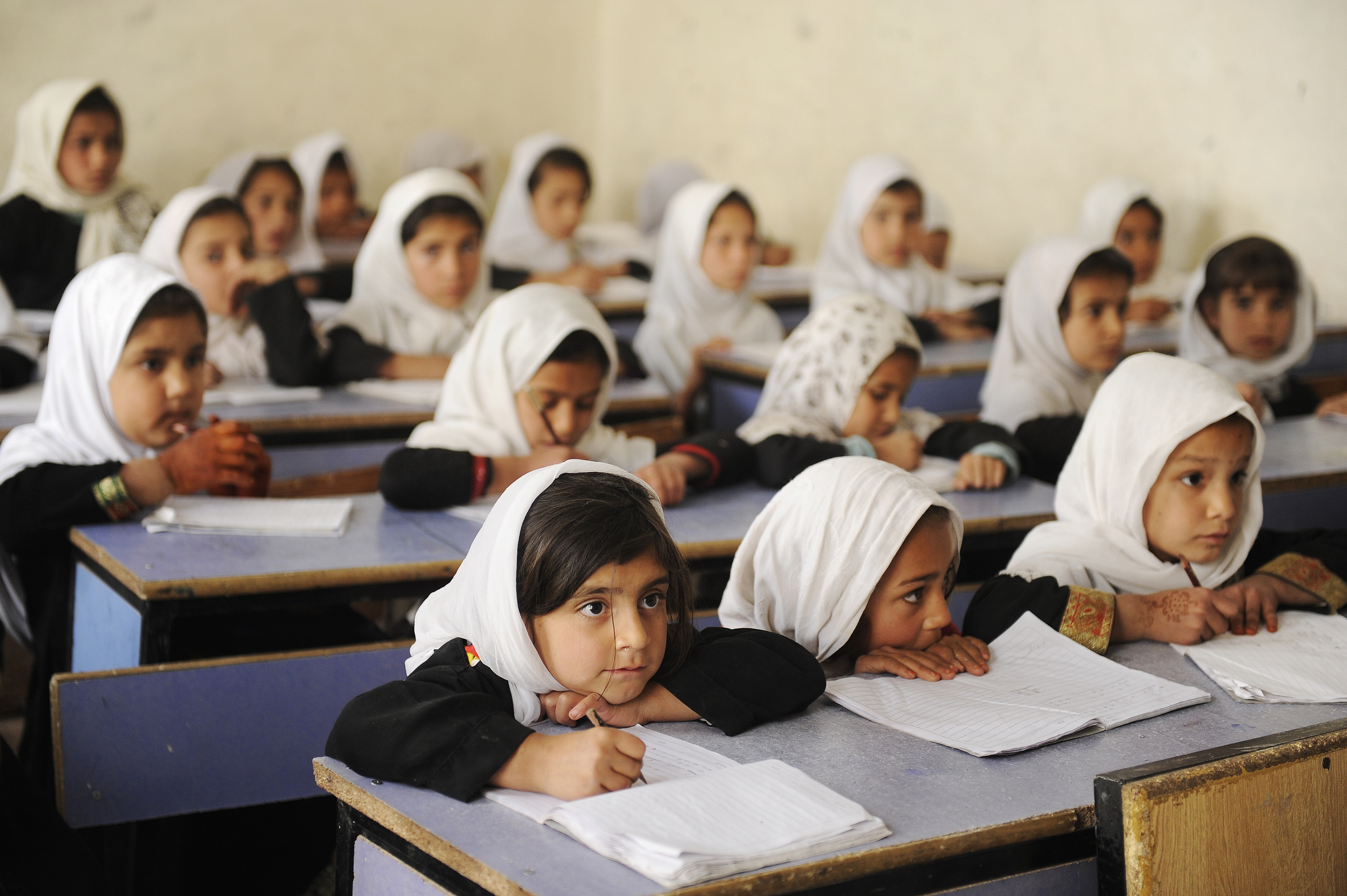 Young girls in a classroom in Afghanistan