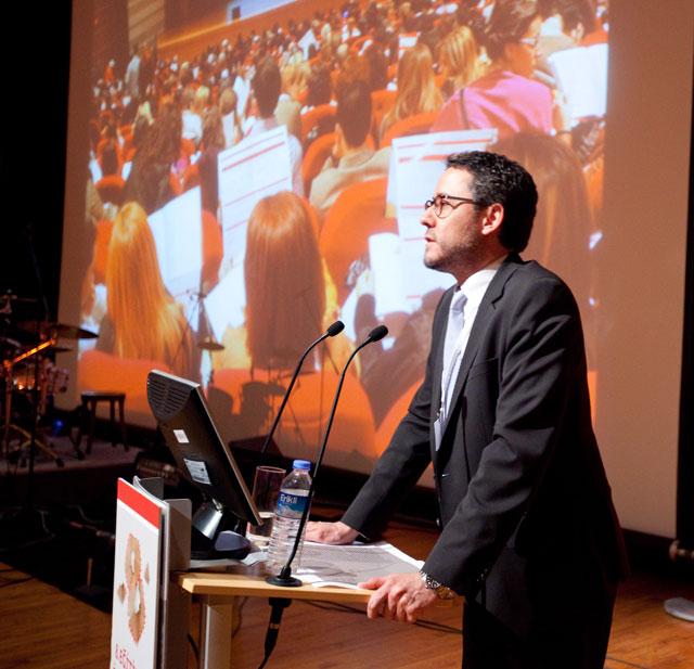 Photo of Batuhan at podium