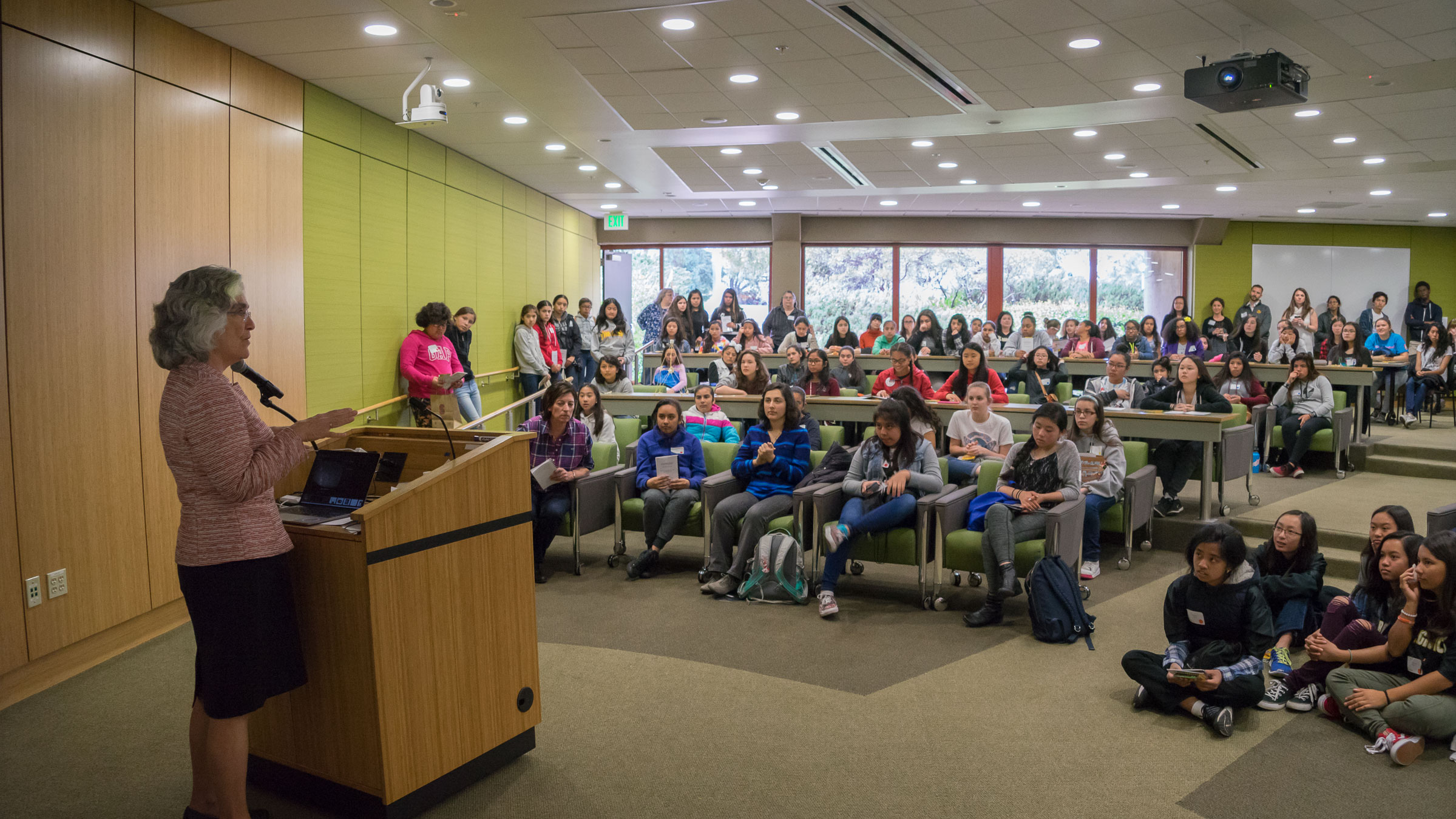 Stanford Provost Persis Drell tells middle school girls at a workshop that math will open career paths. (Photo: Marc Franklin)