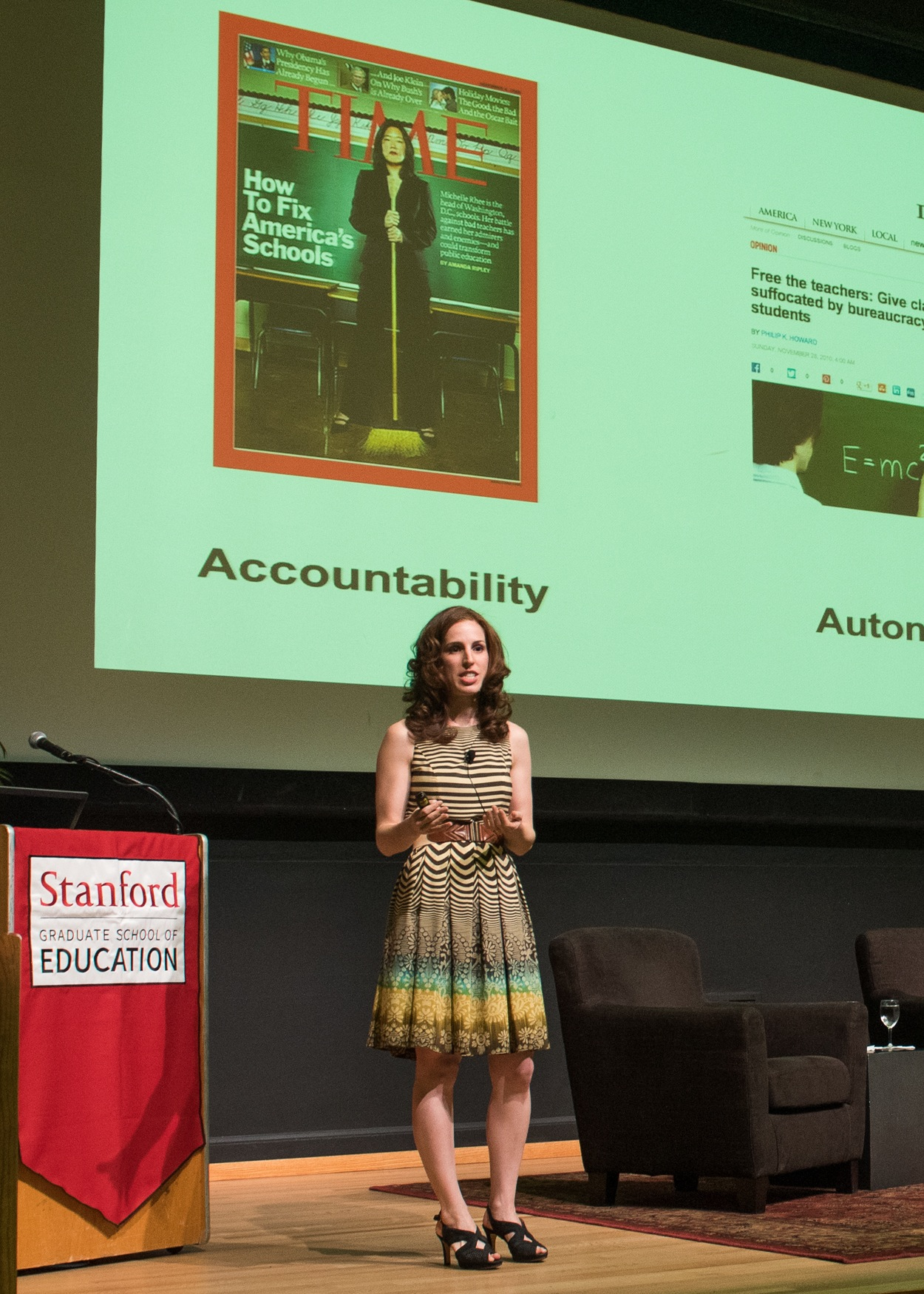 """Elizabeth Green, author of """"Building a Better Teacher,"""" presents at the 2015 Cubberley Lecture (Photo: Steve Castillo)"""