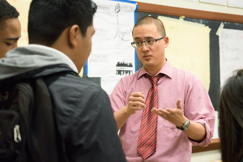David Ko explains an assignment to students in his ethnic studies class at Washington High School in San Francisco.