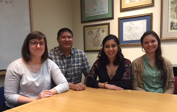 Master's students Grace Fowler, Zach Jue Lam, Sam Alavi and Joyce Marie Jones, all MA '18, are part of the POLS project.  (Photo