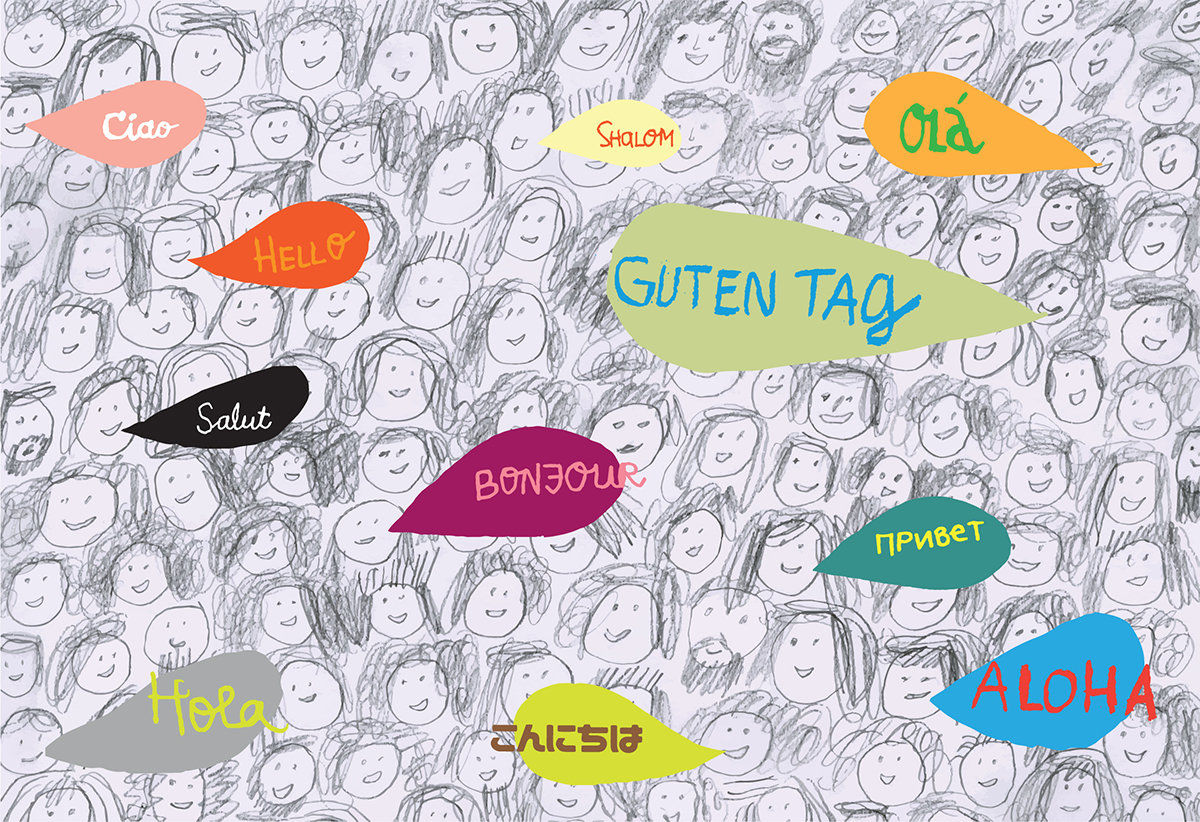 "illustration of ""hello"" in many languages"