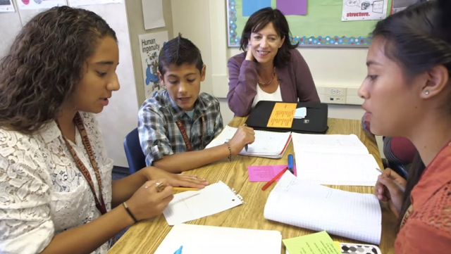 Jo Boaler (second from right) offers an alternative to the traditional drill and memorization emphasis in U.S. math classes. (Courtesy of Reel Link Films)
