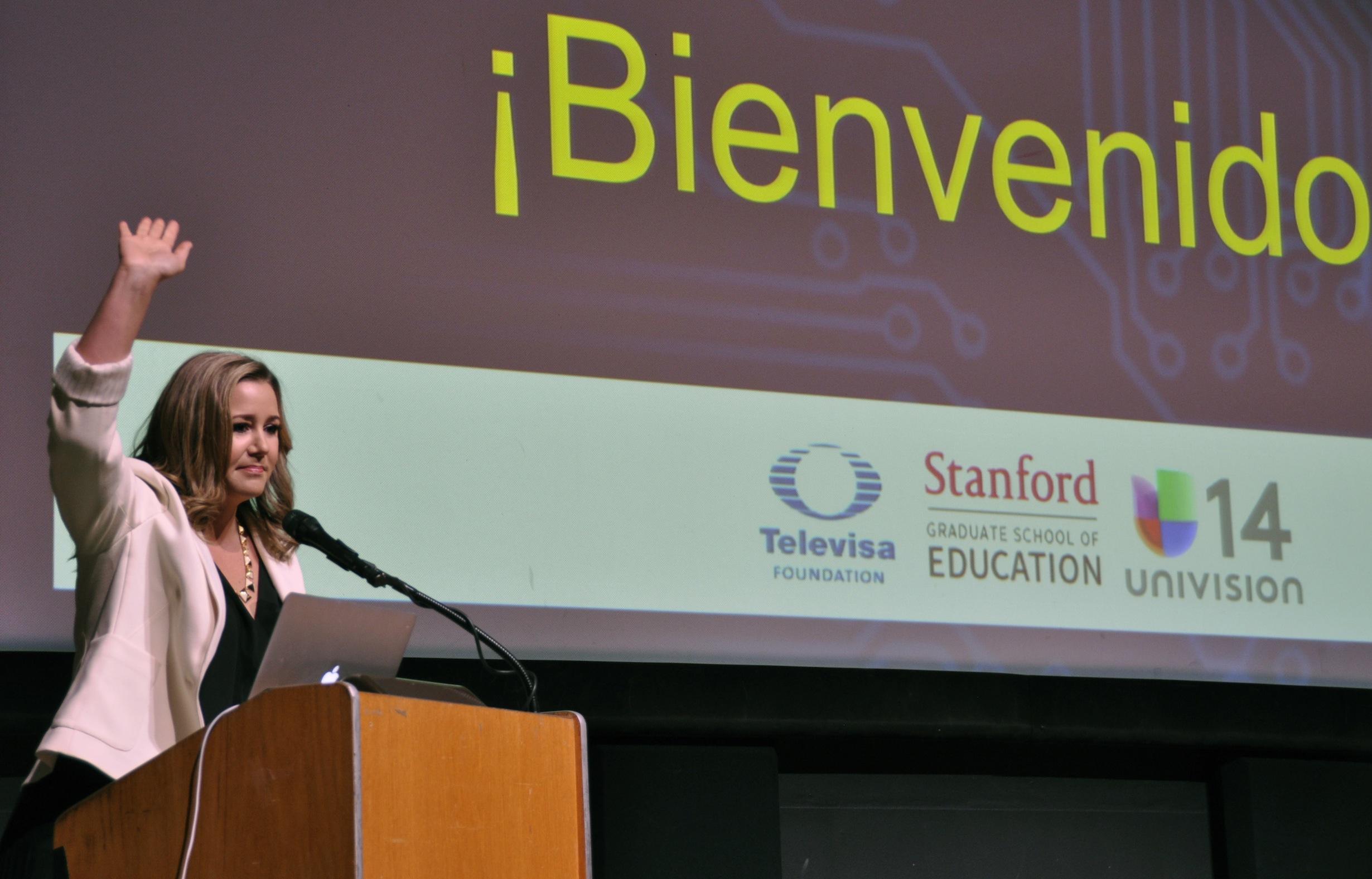 """Kira Vilanova of Univision 14 at """"Latin@s in STEM."""""""