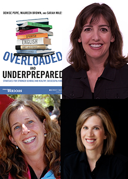 Clockwise: Book cover, Denise Pope, Maureen Brown and Sarah Miles