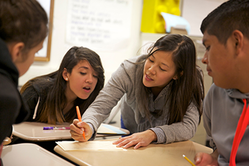 Jessica Uy, second from right, who graduated from the Stanford Teacher Education Program in 2007, teaches math at Fremont High School in Sunnyvale, Calif.