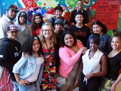 Students and their teacher at City Arts and Technology High School