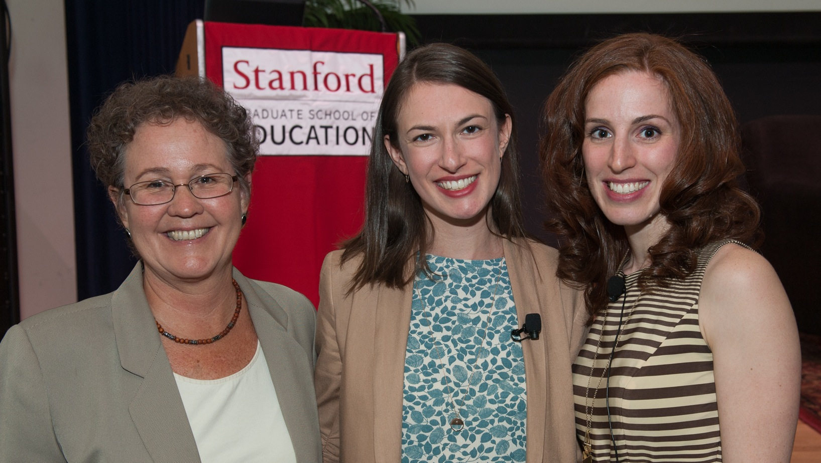 Linda Darling-Hammond, Dana Goldstein and Elizabeth Green pose together before the Cubberley Lecture (Photo: Steve Castillo)