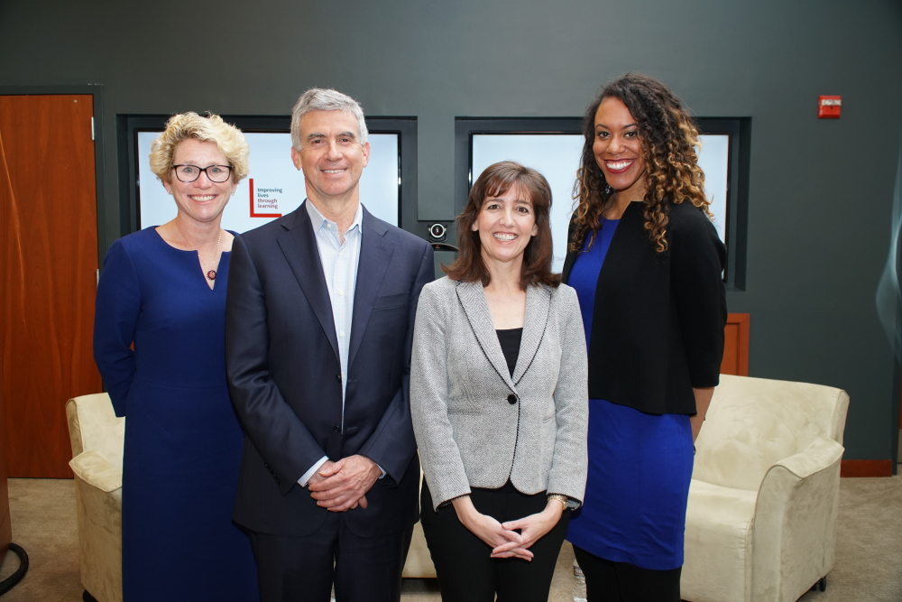A photo of Chrissy Houlahan, '89, Dan Schwartz, Denise Pope, and Jessica Stovall