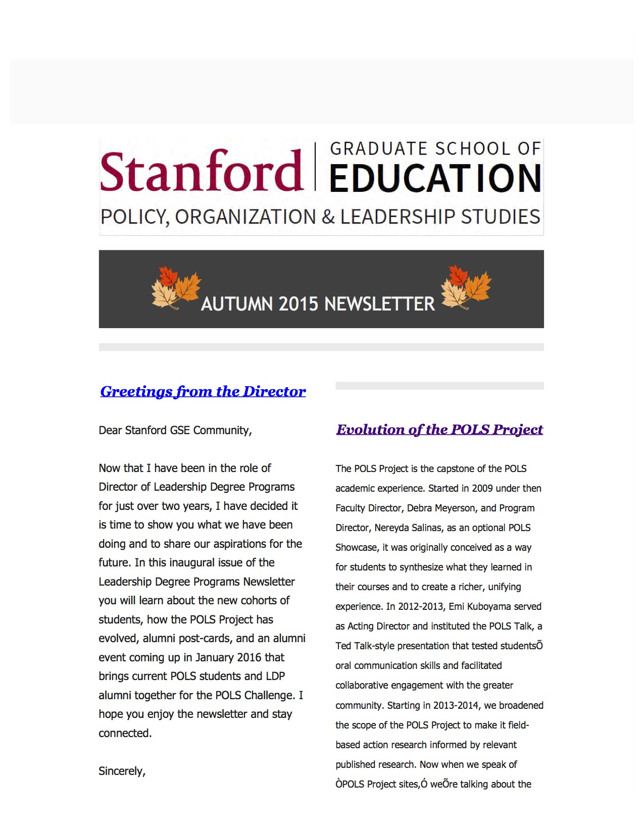 Screenshot of first page of POLS Autumn '15 Newsletter