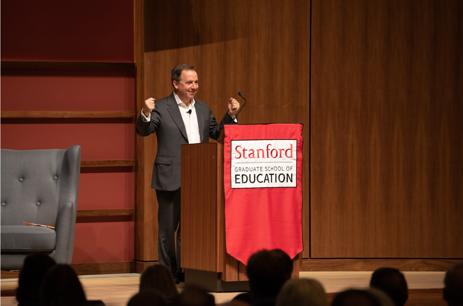 Photo of Ron Suskind presenting at the Cubberley Lecture