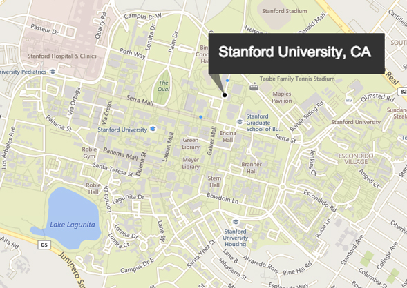 Location of Stanford Campus on a map