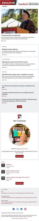 Screenshot of June 2017 newsletter