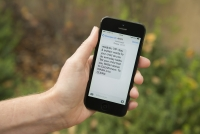Stanford researchers find promising results from program that uses text messages, like this one, to support parents in helping their children learn to read. (Linda A. Cicero/Stanford News Service)