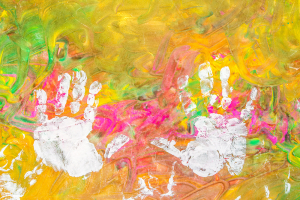 hand prints in paint