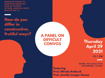 Two heads on contrasting red and blue background. A panel on difficult convos: Thursday April 29, 2021 12 PM to 1 PM
