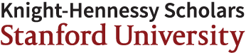 Image in black and red that says, Knight-Hennessy Scholars, Stanford University