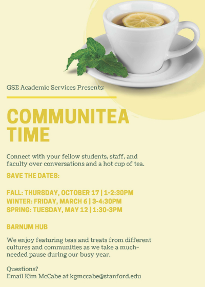 CommuniTea Time Dates 2019-20