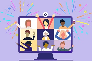 animated image of a individuals celebrating in a grid virtual chat room
