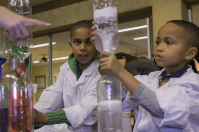 Lance and Miles Clunie took part in hands-on experiments during Community Science Night at the GSE in January 2017.