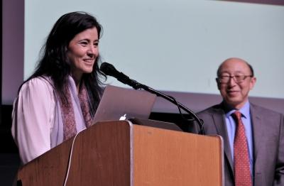 "Alicia Lebrija Hirschfeld and Kenji Hakuta at ""Latin@s in STEM."""